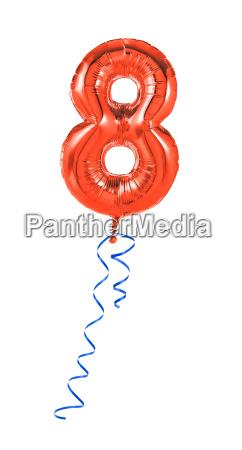 roter luftballon mit geschenkband nummer