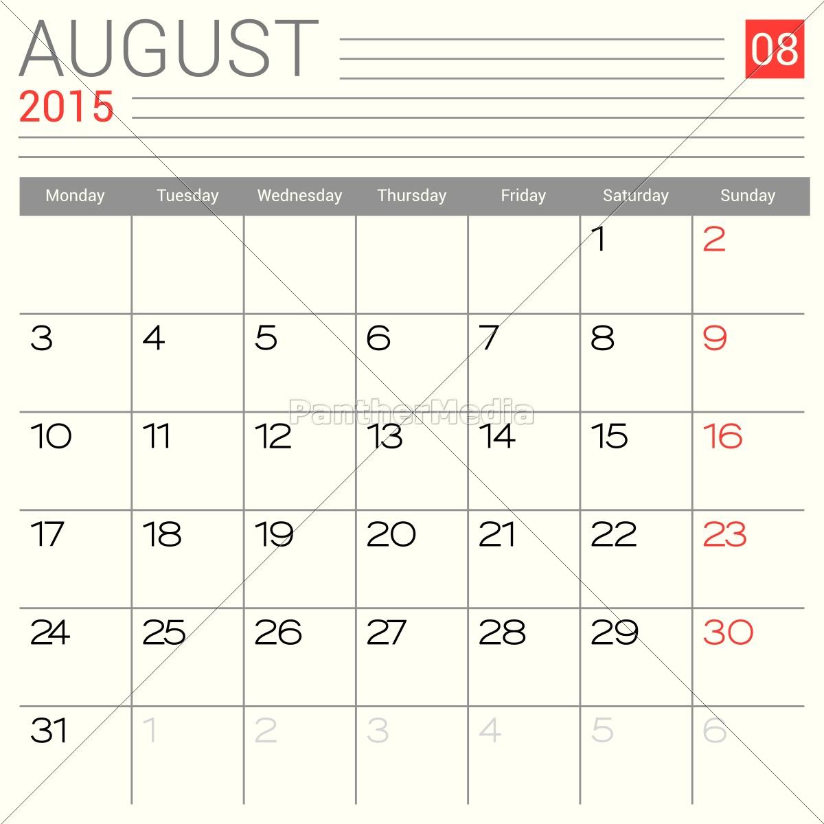 august, 2015, kalender - 12956622