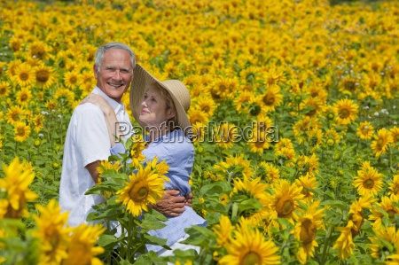 portrait of smiling couple among sunflowers
