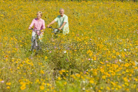 smiling couple riding bicycles among wildflowers
