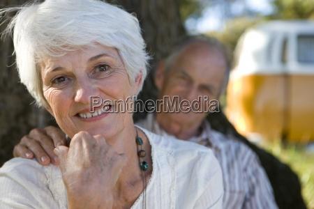 portrait of senior couple mans hand