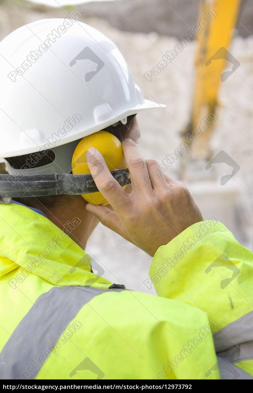 construction, worker, wearing, ear, protectors - 12973792