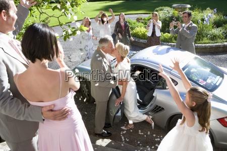 senior couple celebrating marriage next to