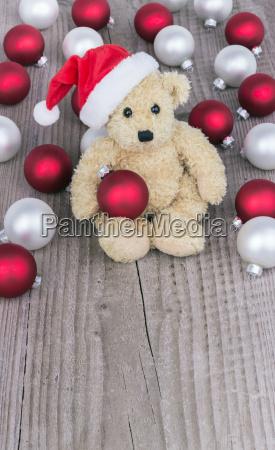 teddy bear white balls christmas kogeln