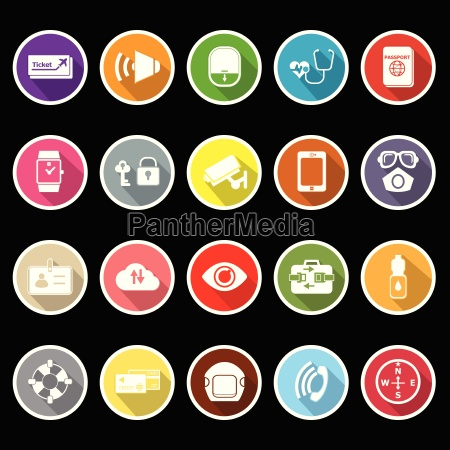 passenger security flat icons with long