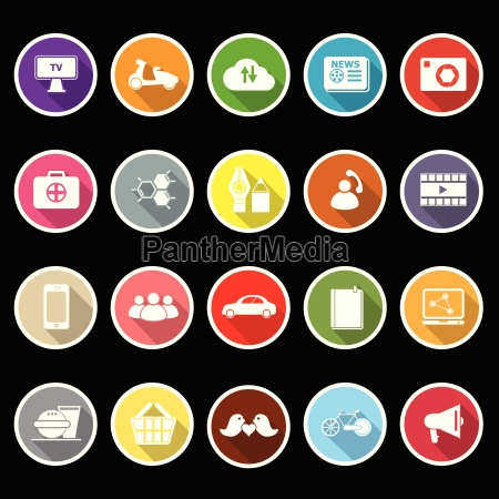 social network flat icons with long