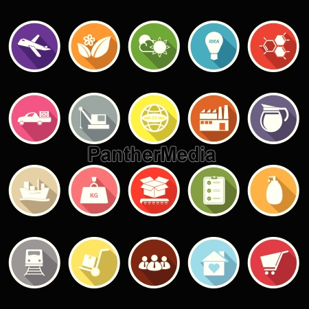supply chain and logistic flat icons