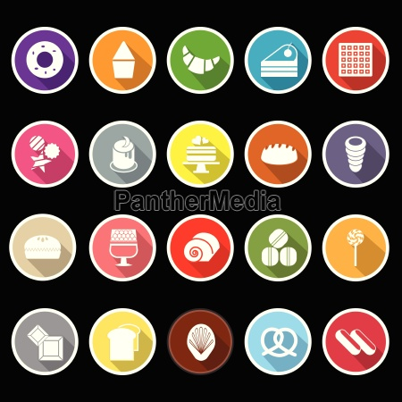 variety bakery flat icons with long