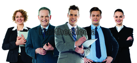 multi ethnic business people posing together