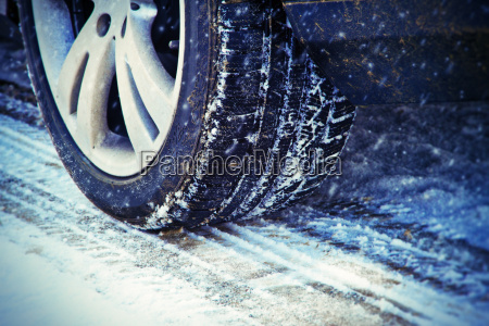 winter tires in the snow