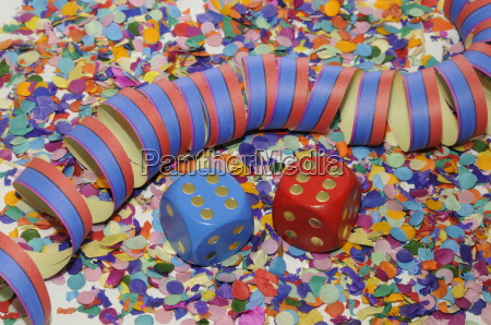 dice and streamers