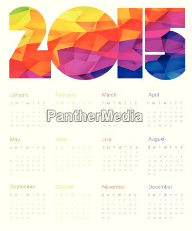 colorful calendar 2015 design vector