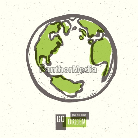 go green concept poster with earth