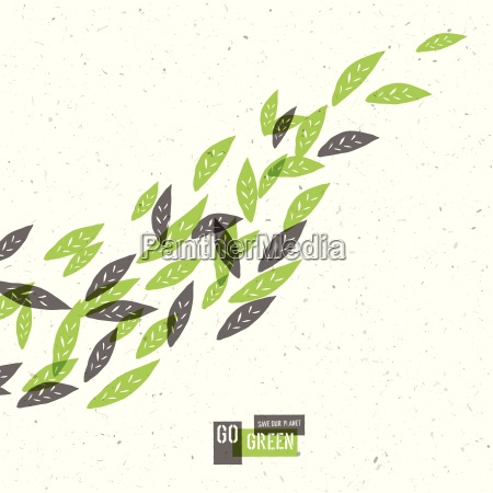 go green concept poster with leaves