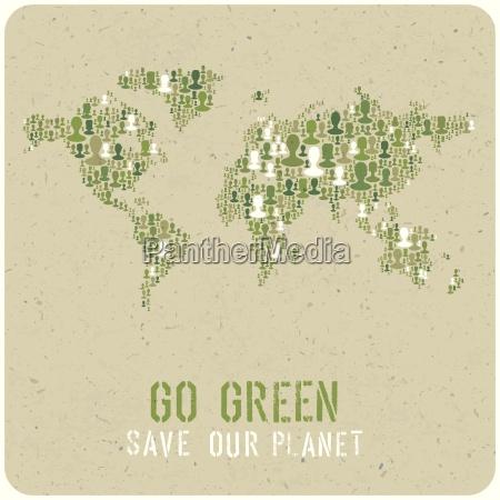 go green ecology poster concept vector