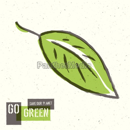 go green concept poster with leaf