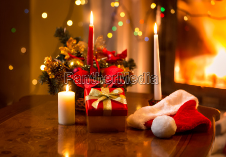 christmas photo of burning candles with