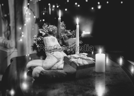 monochrome photo of table decorated with