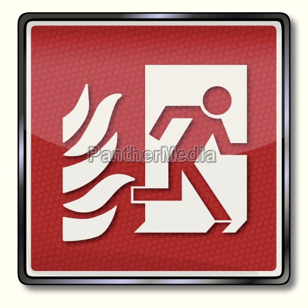 with fire escape sign and emergency