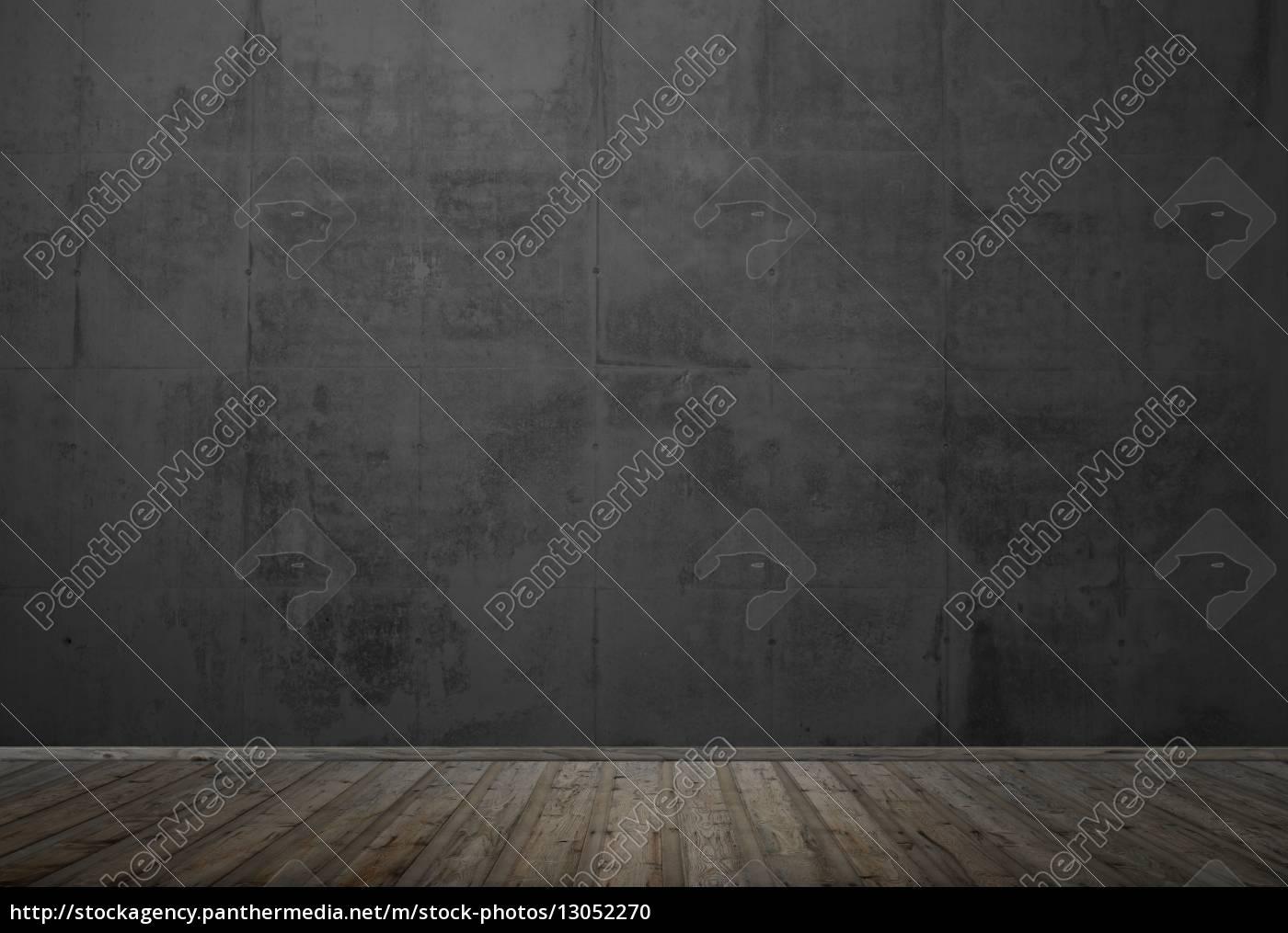 Leerer Dunkler Raum Mit Holzboden Und Steinwand Stock Photo