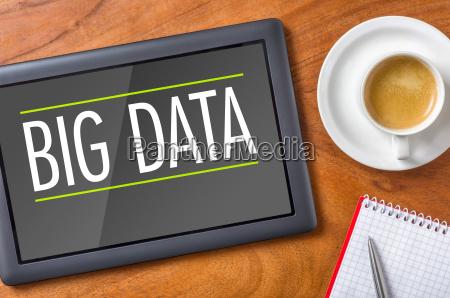 tablet on desk big data