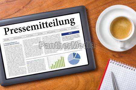 tablet on desk press release