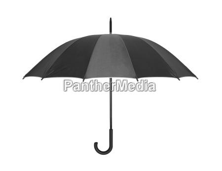 oeffnen schwarzen regenschirm auf weiss mit
