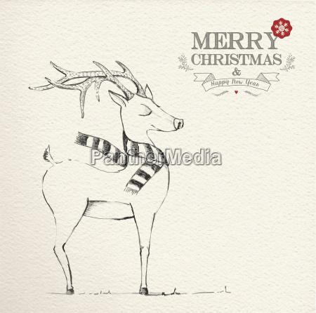 weihnachten hand einzigartige rentier illustration gezeichnet