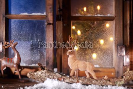 rentier dekore fuer weihnachten an der