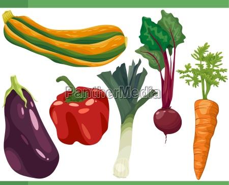 vegetables cartoon set illustration