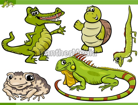 reptilien und amphibien cartoon set