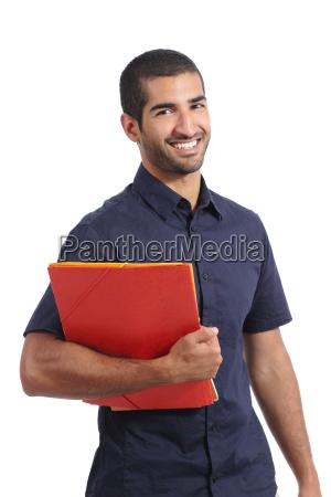adult casual arab man student posing