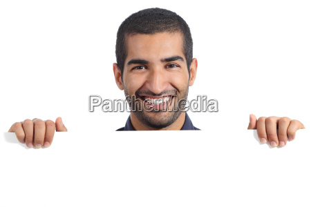 arab happy man holding a blank
