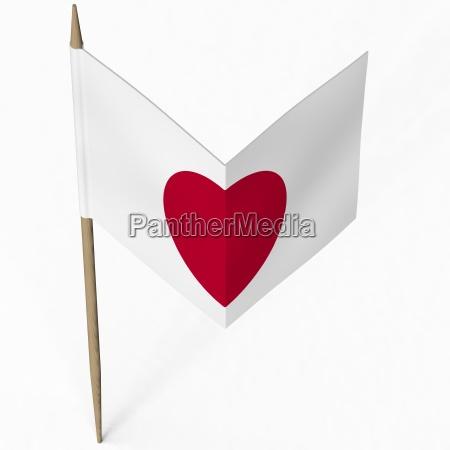 papierflagge von japan bildet herz