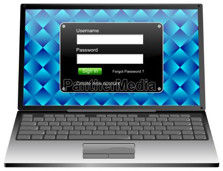 laptop computer mit anmeldebildschirm