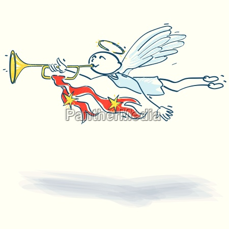 strichmaennchen engel mit trompete