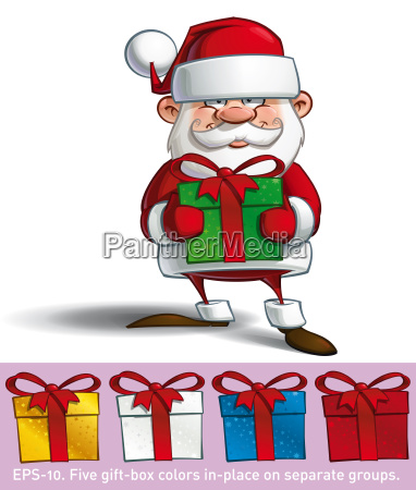 happy santa holding a gifts