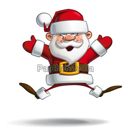 happy santa parachute open hands