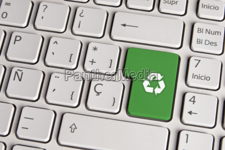 go green concept recycle keyboard key