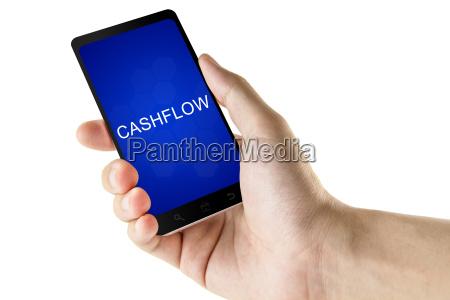 cashflow wort ueber digitale smartphone