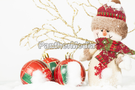 christmas decoration with snowman figurine in