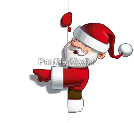 smilling santa blank label pointing