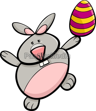 bunny with easter egg cartoon