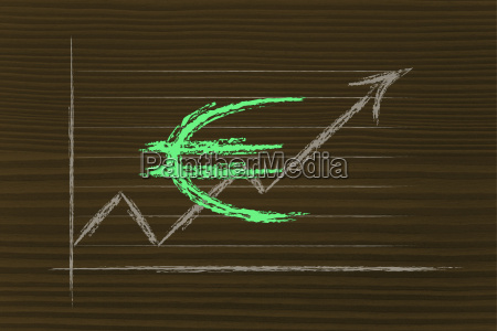 boerse diagramm mit euro waehrung symbol