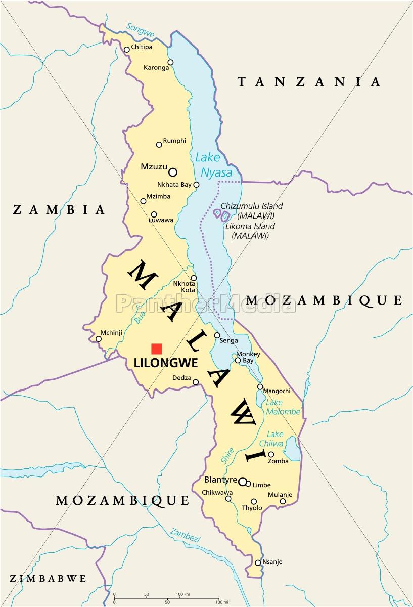 malawi, politische, karte - 13176630
