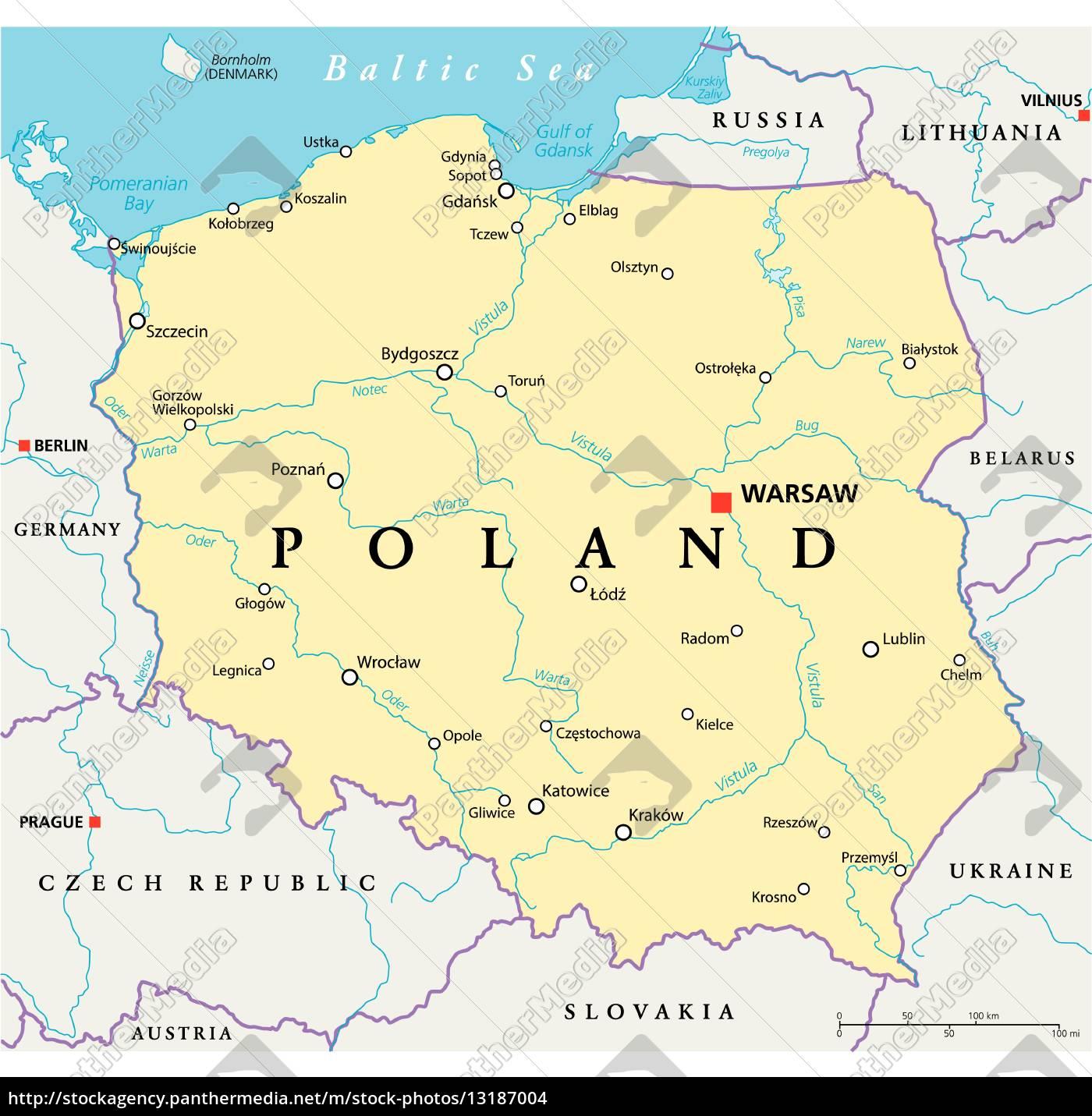 Polen Politische Karte Lizenzfreies Foto 13187004