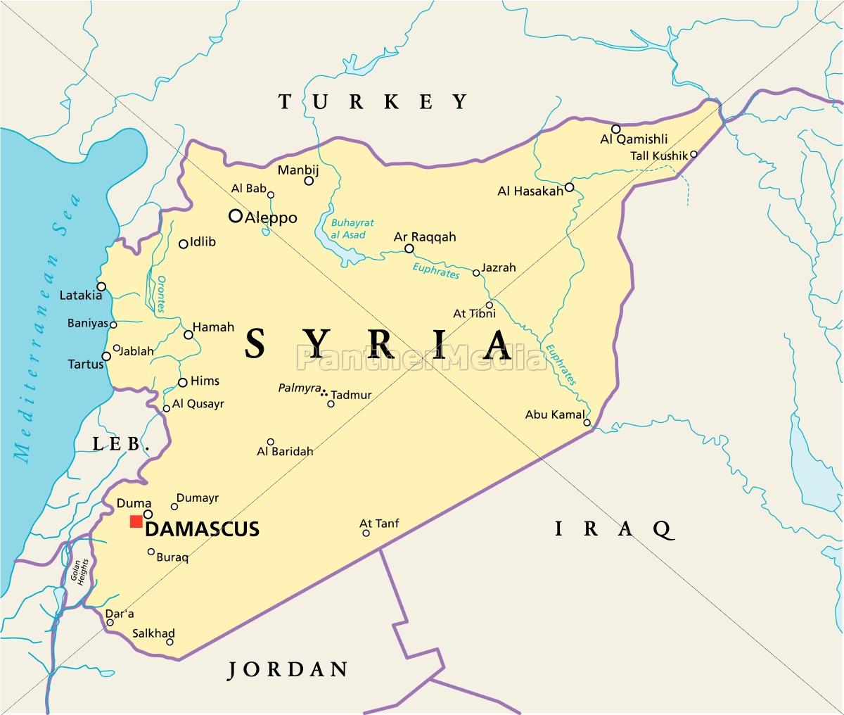 Syrien Karte.Lizenzfreie Vektorgrafik 13190808 Syrien Politische Karte