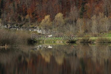 frankreich natur see spiegelung herbst landleben