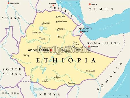 politische landkarte aethiopiens