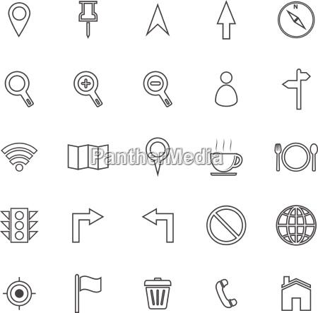 karte linie symbole auf weissem hintergrund